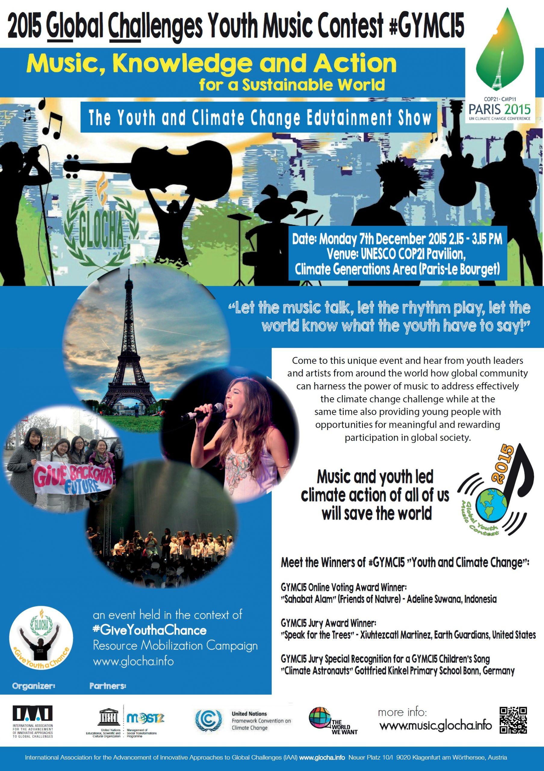 GYMC COP21show 7DecUNESCOpavilion poster